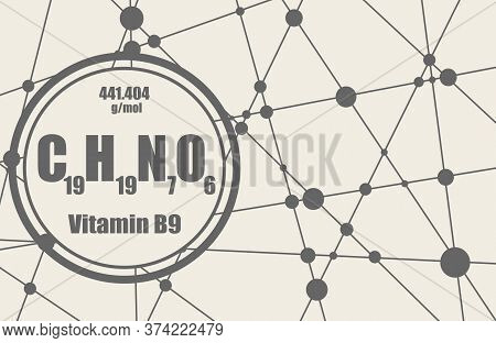 Chemical Formula Of Vitamin B9 Or Folic Acid. Connected Lines With Dots Background.