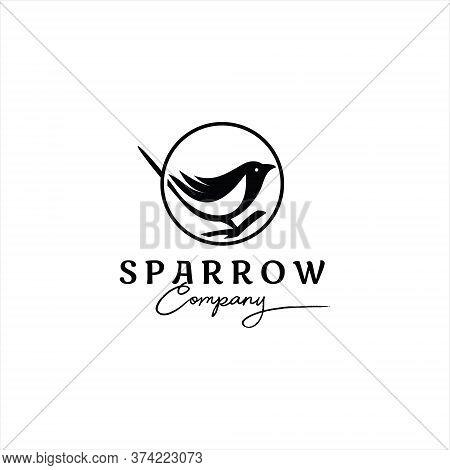 Sparrow Logo Simple Black Bird Vector Art For Animal Graphic Design Idea Or Print Art Template Idea