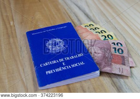 June 27, 2020, Florianopolis - Brazil: Close Up Of Brazilian Work And Social Security Document And R