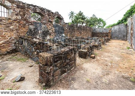 Ruins Of Former Penal Colony At Ile Royale, One Of The Islands Of Iles Du Salut.