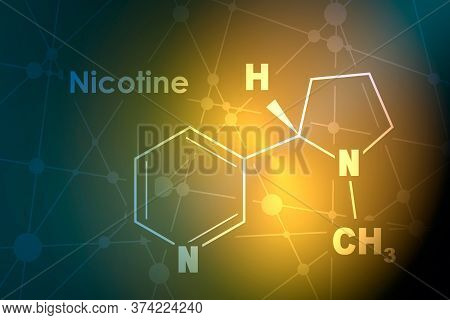 Chemical Molecular Formula Of Nicotine. Connected Lines With Dots Background