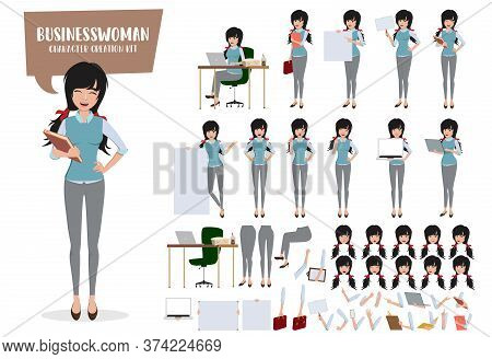 Young Businesswoman Character Creation Vector Set. Business Woman Characters Female Office Staff Emp