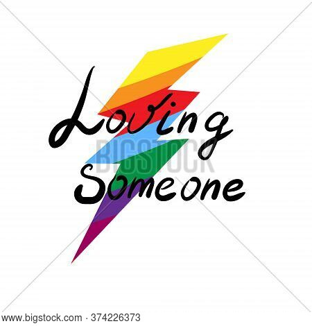 Rainbow Lightning. Lgbt Pride Or Rainbow Flag With A Heart Pattern. Gay Flag Colored Illustration.