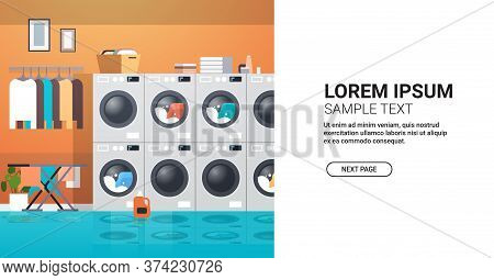 Row Of Dryers Industrial Washing Machines Electric Washers Concept Modern Laundry Room Interior Hori