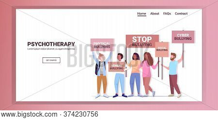 Mix Race Activists Holding Stop Bullying Banners Psychotherapy Concept Horizontal Copy Space Full Le
