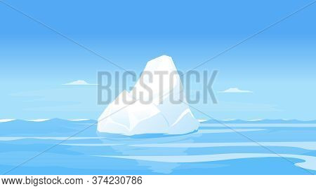 One Small Iceberg In Sea Landscape Background, Tip Of The Iceberg In The Calm Sea, Iceberg In Ocean