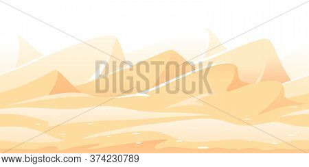 Sand Dunes And Yellow Hills Game Background Tillable Horizontally, Orange Sand Hills On A Deserted P