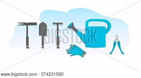 Set Different Gardening Tools Various Garden Equipment Rakes And Shovel Watering Can Pruners And Glo