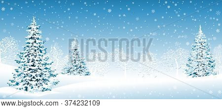 Winter Landscape. Snow-covered Forest, Spruce Trees And Trees Covered With Snow. Snow, Snowflakes. W