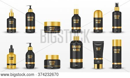 Set Of Black Cosmetic Packages With Golden Cup Isolated. Mockup Cosmetic Containers And Jars For Cre
