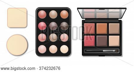 Eyeshadow Makeup Shaping Palette. Realistic 3d Black Plastic Case With Eyeshadow And Eyebrow Brush A