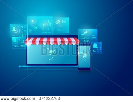 Concept Of Realistic Devices With Online Shopping Or E-commerce