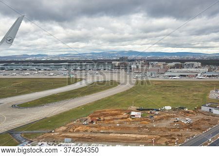 FRANKFURT AM MAIN, GERMANY - CIRCA JANUARY, 2020: Frankfurt am Main Airport as seen from Lufthansa aircraft.