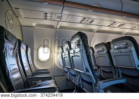 FRANKFURT AM MAIN, GERMANY - CIRCA JANUARY, 2020: interior shot of an Airbus A320 operated by Lufthansa.
