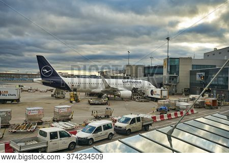 FRANKFURT AM MAIN, GERMANY - CIRCA JANUARY, 2020: Airbus A320-200 operated by Lufthansa at Frankfurt am Main Airport apron.