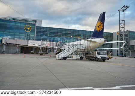 FRANKFURT AM MAIN, GERMANY - CIRCA JANUARY, 2020: an aircraft operated by Lufthansa as seen at Frankfurt am Main Airport apron.