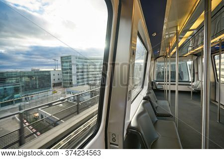 FRANKFURT AM MAIN, GERMANY - CIRCA JANUARY, 2020: view from SkyLine Train. SkyLine is a free automatic shuttle rail service at Frankfurt Airport