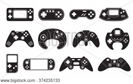 Video Game Controllers Set. Monochrome Consoles, Black Gamers Joysticks, Modern And Retro Computer G