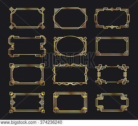 Various Antique Gold Filigree Frames Set. Graphic Golden Geometric Borders And Art Deco Ornaments Ve