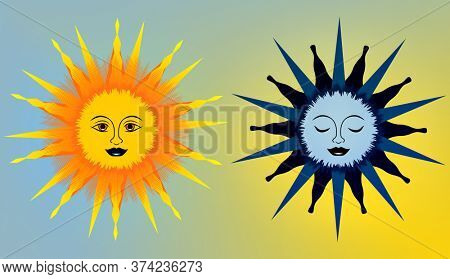 Illustration of Sun and Moon Couple with faces.