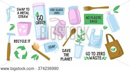Various Reusable Eco Bags And Bottles Set. Linear Reusing Straws, Toothbrush, Cans, Soap Vector Illu