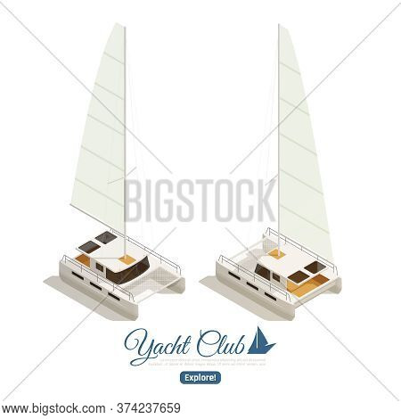 Yacht Club Sailing Cruises Isometric Web Page  Design With 2 Main Deck Captain Cabin Images Vector I