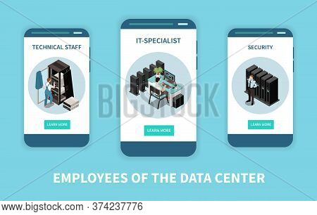 Three Vertical Datacenter Isometric Banner Set With Employers Of The Data Center Headline Vector Ill