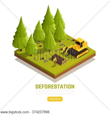 Natural Resources Timber Conversion Forest Land To Farms Isometric Composition With Deforestation Tr