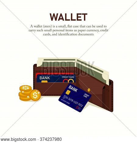 Vector Illustration Of A Man's Wallet Containing Money, Credit Cards, Coins, And Identity Cards. Sui