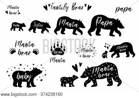 Bear Family Bundle Set. Papa, Mama, Sister Baby Bear Black Shapes Cute Bear Prints Pharses With Paw