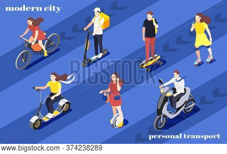 Men And Women Riding Bike Unicycle Scooter Roller Skates Skateboard Around City Isometric Background