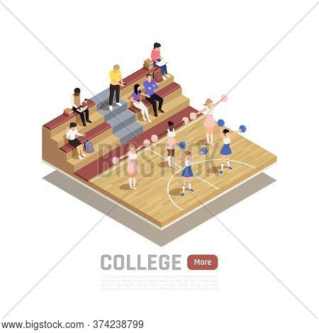 Isometric Composition With College Cheerleading Squad Dancing In Gym 3d Vector Illustration
