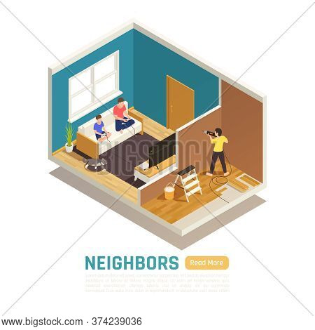 Neighbor Relations Conflicts Isometric Composition With Next Door Tenant Causing Excessive Noise By