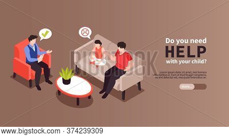 Isometric Psychologist Horizontal Banner With Editable Text More Button And Characters Of Family Mee