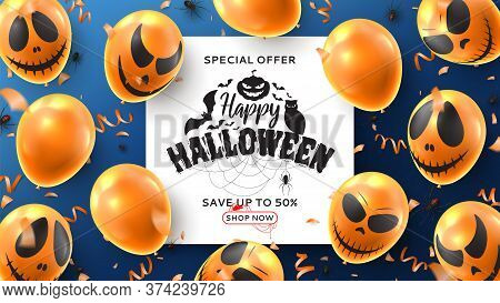 Happy Halloween Sale Banner. Vector Illustration Realistic Orange Balloons With Scary Smiles And Bla