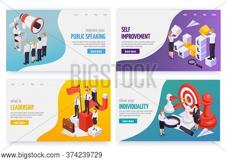Soft Skills Concept 4 Isometric Web Banners Set With Public Speaking Leadership Individuality Self I