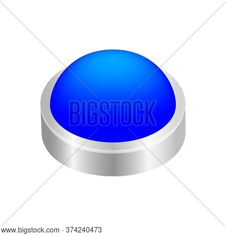Button Circle Shape Blue For Button Isolated On White, Blue Modern 3d Buttons Simple And Convex, But