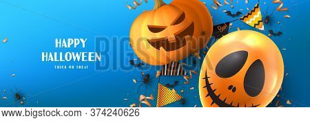Happy Halloween Sale Promo Banner. Holiday Promo Banner With Spooky Balloon, Black Spiders And Bats,
