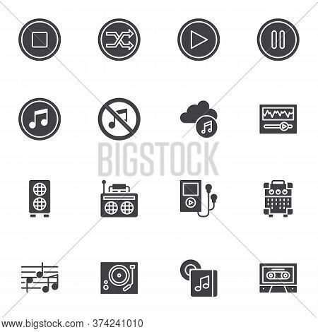 Music, Sound Vector Icons Set, Modern Solid Symbol Collection, Filled Style Pictogram Pack. Signs, L