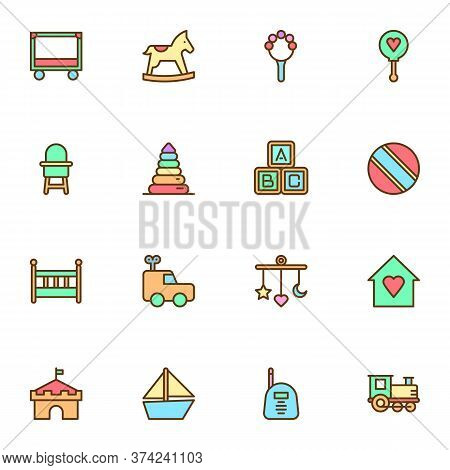 Baby Toys Filled Outline Icons Set, Line Vector Symbol Collection, Linear Colorful Pictogram Pack. S