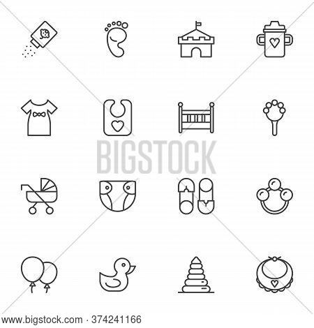 Baby Related Items Line Icons Set, Outline Vector Symbol Collection, Linear Style Pictogram Pack. Si