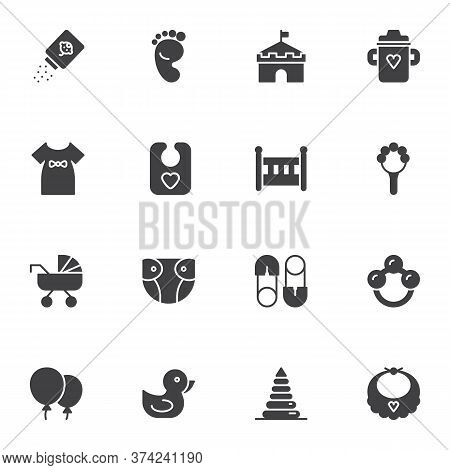 Baby Related Items Vector Icons Set, Modern Solid Symbol Collection, Filled Style Pictogram Pack. Si