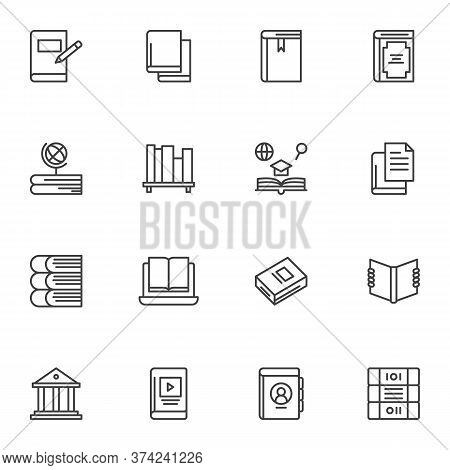Education Books Line Icons Set, Outline Vector Symbol Collection, Linear Style Pictogram Pack. Signs