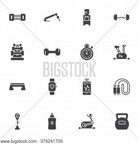 Gym And Fitness Vector Icons Set, Modern Solid Symbol Collection, Sports Equipment Filled Style Pict