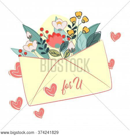 Set Of Summer, Garden, Easter, Birthday, Spring Bouquets With Flowers, Leaves, Branches In Envelope.