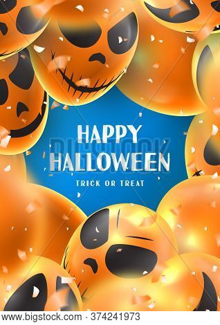 Happy Halloween Party Poster. Holiday Promo Banner With Scary Balloons And Orange Confetti On Blue B