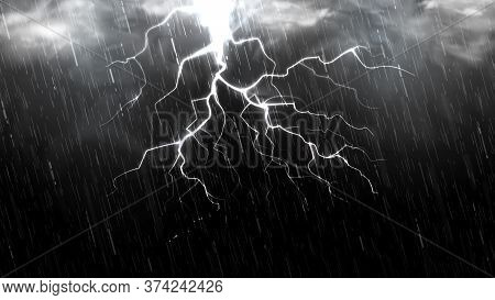 Falling Raindrops Isolated On Black Background. Falling Water Drops Texture. Realistic Rain With Clo