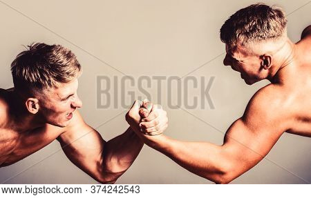 Hand Wrestling, Compete. Hands Or Arms Of Man. Muscular Hand. Two Men Arm Wrestling. Rivalry, Closeu