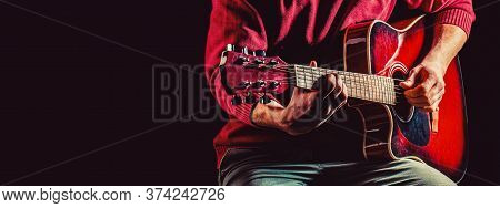 Music Concept. Musical Instrument. Guitars And Strings. Guitar Acoustic. Electric Guitar, String, Gu