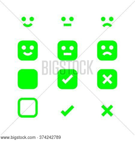 Green Glowing Icon Emotions Face, Emotional Symbol And Approval Check Sign Button, Emotions Faces An